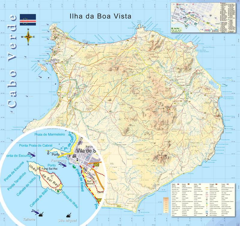 Hiking And Watersports Map Boa Vista 1 50000 Capo Verde For