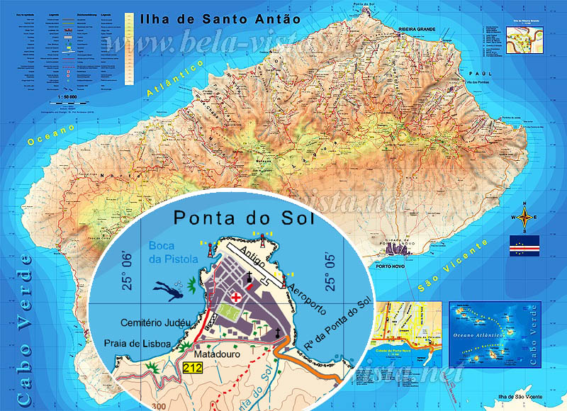 Hiking Map of Santo Antao - Cape Verde - 56 trails for walking and ...
