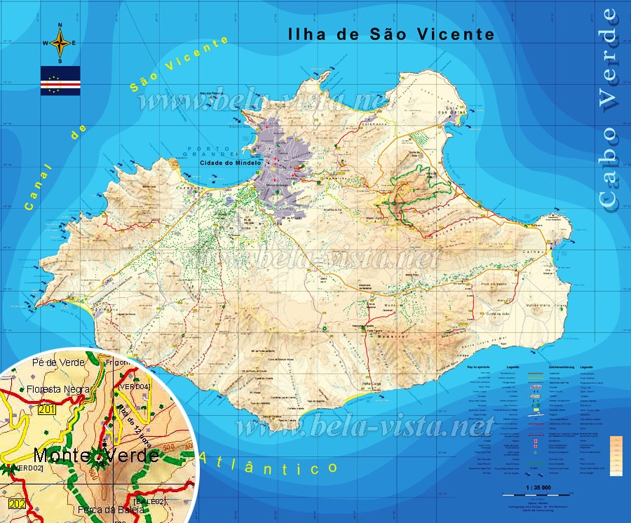 Hiking Map Sao Vicente 1:35000 - Cape Verde for Hikers, MTB riders ...