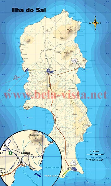 Sal - Cape Verde: map 1:50 000 for surf hike dive and investment Cabo Verde Map on